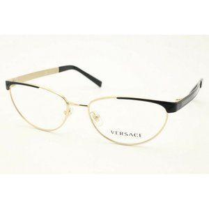 Versace VE 1260 1456 Cat Eye Gold Black Eyeglasses